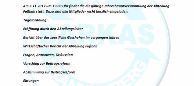 Einladung zur Jahreshauptversammlung der Abteilung Fußball