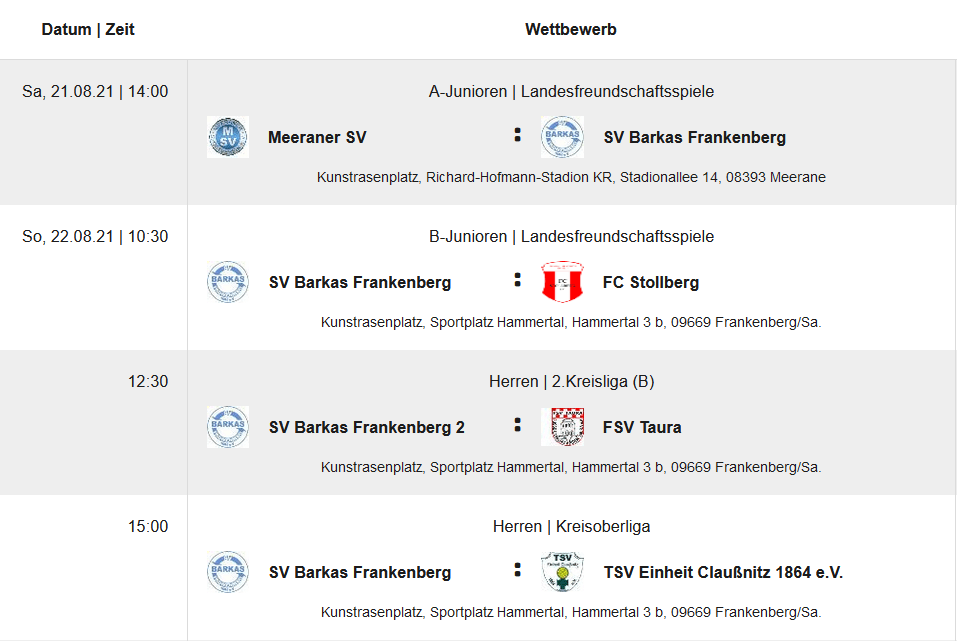 Heimspielstart der 1. des SV Barkas Frankenberg - 21.08.2021